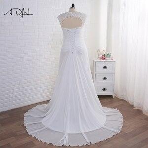 Image 2 - Adln Voorraad Plus Size Trouwjurken Elegante V hals Wit/Ivoor Applique Kralen Chiffon Strand Bruidsjurk Vestidos De Novia