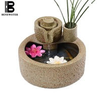 110/220V Ceramic Feng Shui Water Fountain Purifying Air Office Desk Fish Tanks Cha Hai Decoration Crafts Sent Friends Waterscape