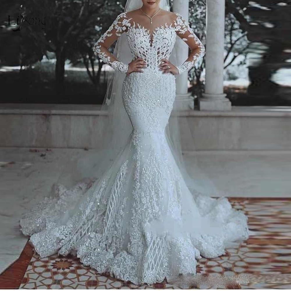 Elegant Muslim Lace Wedding Dresses 2019 Full Sleeves Beaded Long Bridal Gowns Suadi Arabic Wedding  Gowns Vestido De Noiva