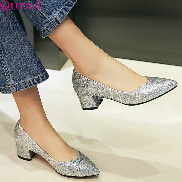 QUTAA 2017 PU leather Elegant Silver Women Pumps Square Med Heel Pointed Toe Platform Summer Ladies Wedding Shoes Size 34-43
