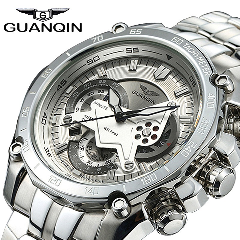 Men Watches 2017 Luxury Brand GUANQIN Chronograph Quartz Watch Steel Business Waterproof Mens Watch Sapphire Wristwatch relogio seiko watch premier series sapphire chronograph quartz men s watch snde23p1
