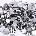 Hematita plata 3D Nail Art ss3 ss4 ss5 ss6 ss8 ss10 ss12 ss16 ss20 ss30 ss34 Vidrio/Cristal Uñas Hotfix Rhinestones