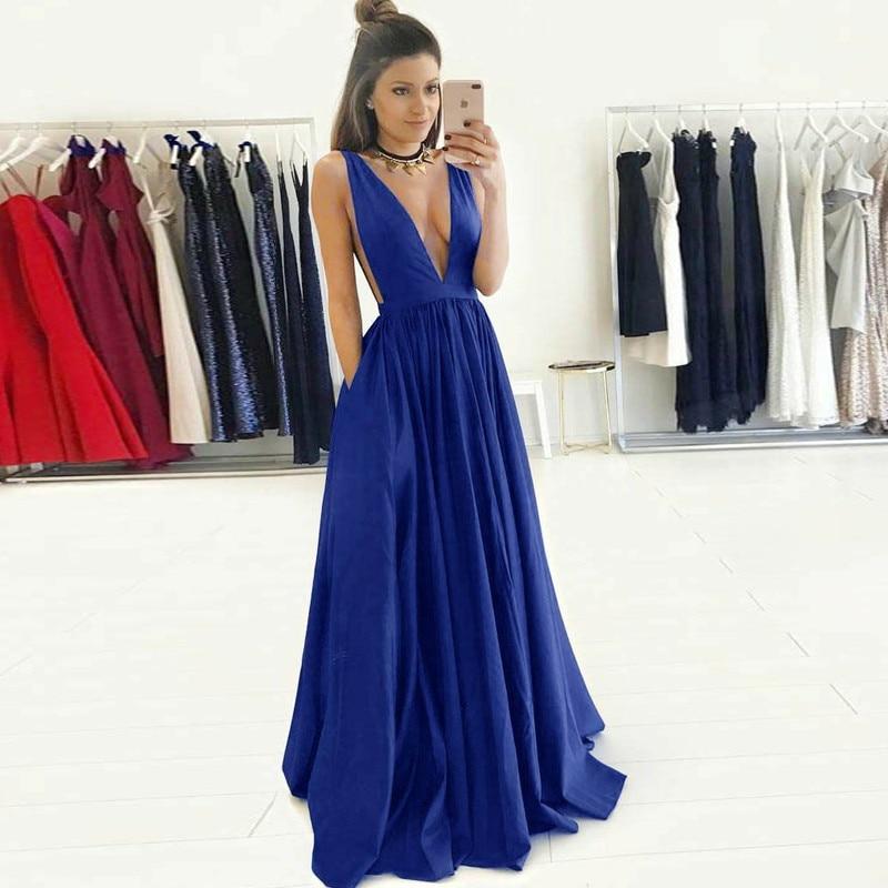 Long Navy Blue Evening Dresses 2019 Simple Backless V Neck