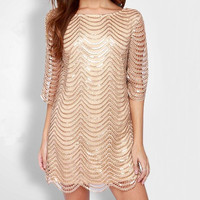 Women Sequin Mesh Dress With Lining New 2016 Half Sleeves Paillette Dresses Ladies Golden Sexy Dress