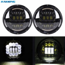 "75w 7""Inch Round Projection Led Headlight DRL fit for Jeep Wrangler JK TJ LJ CJ Sahara Hummer Land Rover Defender"