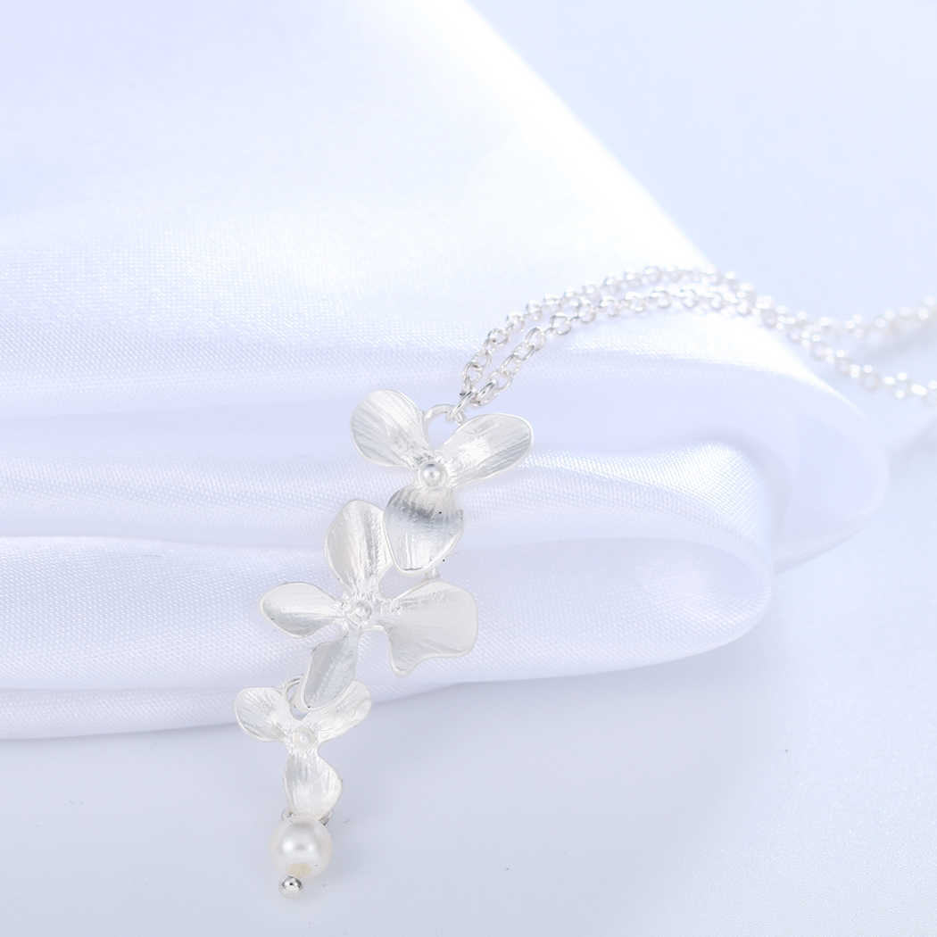 Chandler złoty posrebrzane trzy orchidea wisiorek naszyjniki kwitnący kwiat z perłą colliers? dla kobiet elegancki oświadczenie prezenty