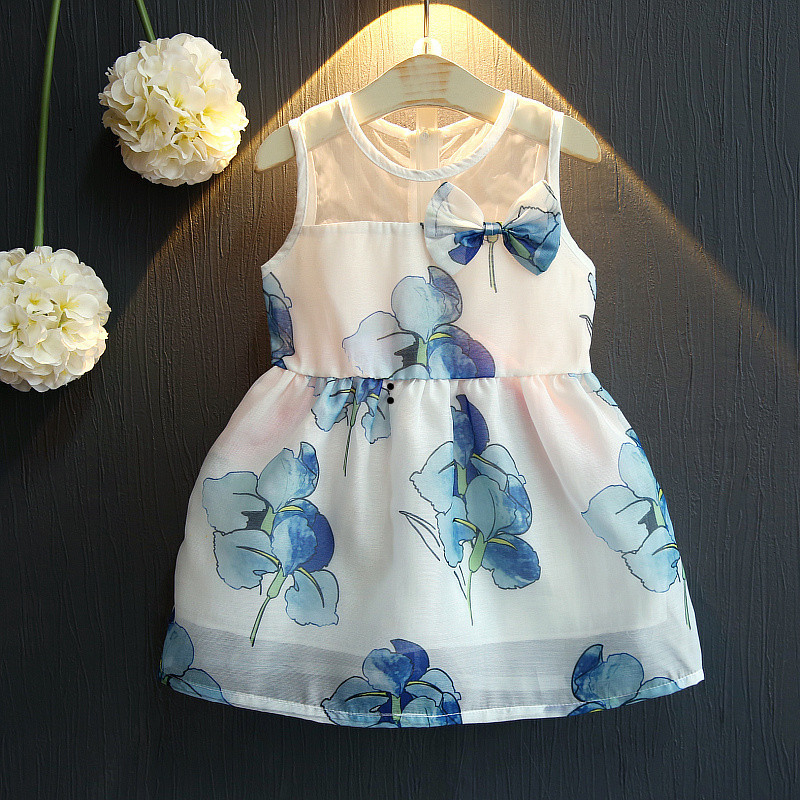 2018 Summer Girls Fashion Slim O Neck Sleeveless Printing Fresh Chiffon Cute Dress Kids Baby Clothes Children Wholesale Dresses new brand 2017 girls long dress summer fashion beach printing mid calf children casual o neck sleeveless clothes 6 15y kids hot