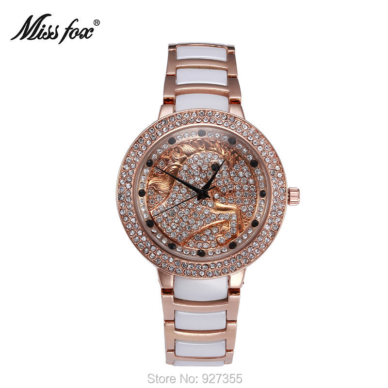 Hot Sales Women White Black Ceramic Watches Luxury High Quality Watch  Fashion&Casual Wristwatches Horse Dress Watch Waterproof 50 hanks high quality mongolia stallion white violin bow hair 6 grams hank white horse tails 32 inches