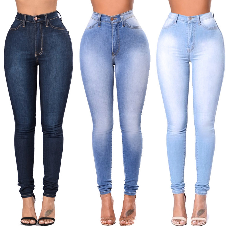 Women Casual Denim Jeans High Waist Jeans Ladies High Elastic Push Up Stretch Jeans Plus Size Washed Denim Skinny Pencil Pants