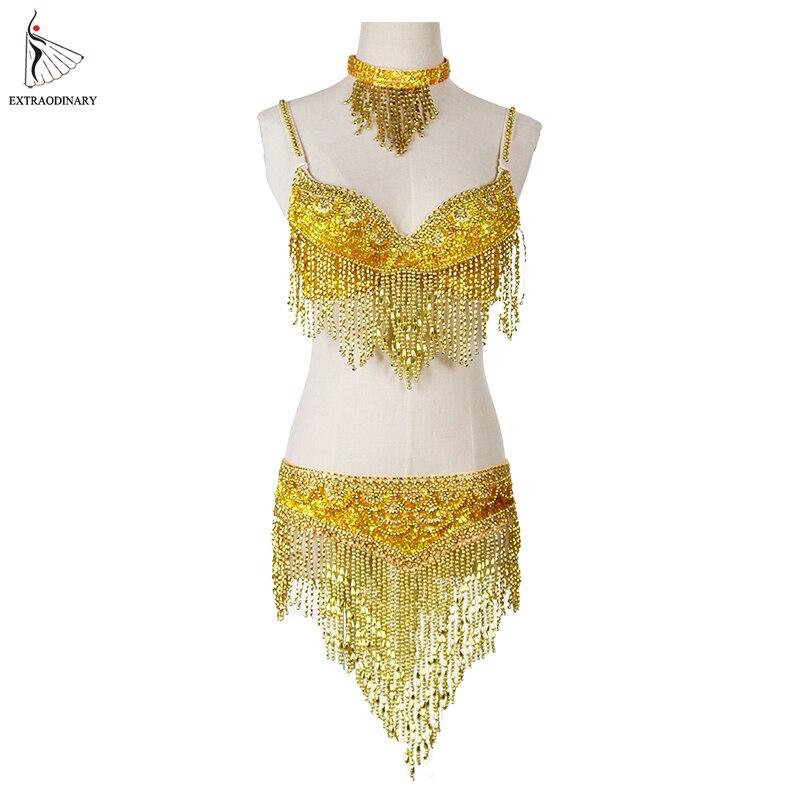 Vestiti di danza del ventre delle donne stile orientale in rilievo superiore e cintura regolabile 2 pezzi costumi per danza del ventre reggiseno costume con collana