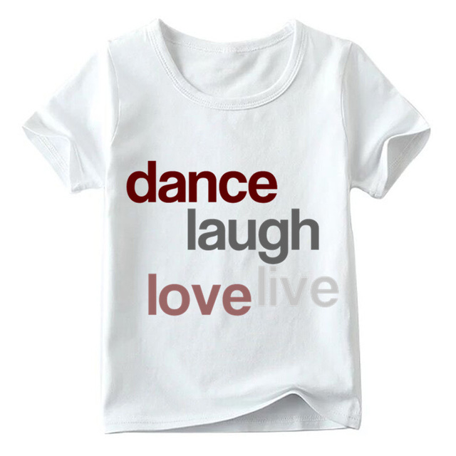 90e33a226 Niños amor danza impresión camiseta Verano de manga corta blanco Tops niños  y niñas Casual camiseta