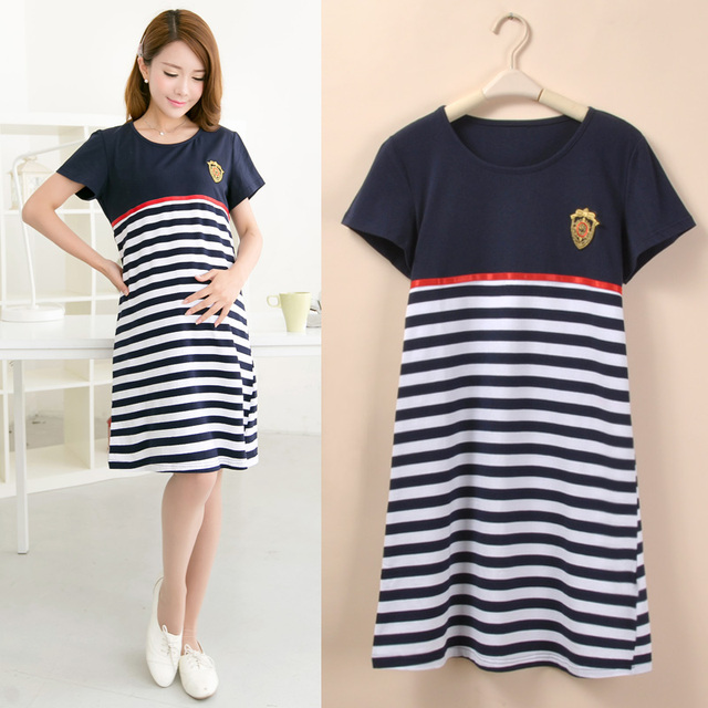 Stripe Cotton Maternity Clothes Dresses For Pregnant Women Pregnancy Clothing Casual Short Sleeve Vestido