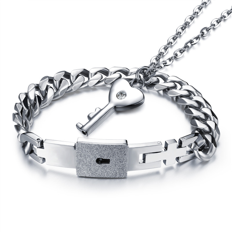 Lover Couple Bracelets Stainless Steel Lock and Key Heart Shaped Key Pendant Necklace Couple Bracelet for Men and Women Jewelry