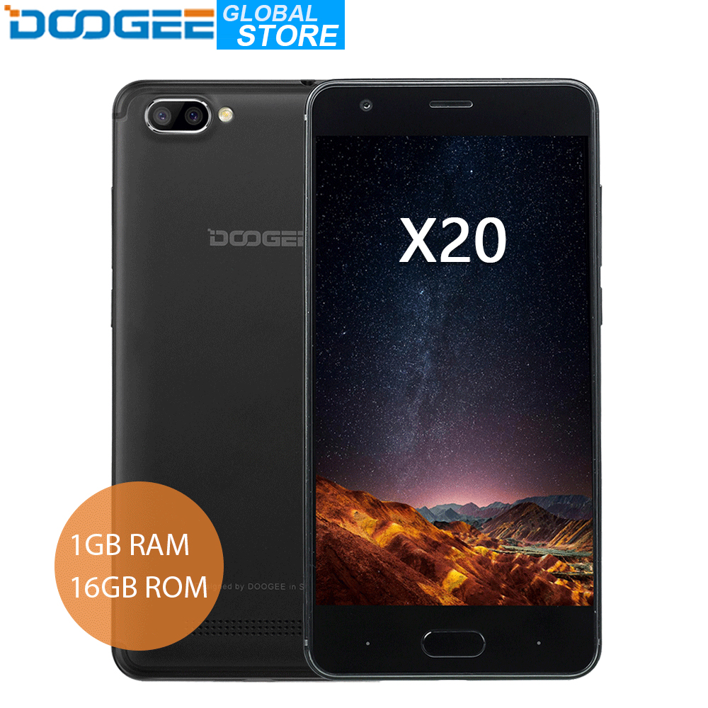 Originale DOOGEE X20 MTK6580A Quad Core 1 gb di RAM 16 gb di ROM 2580 mah Doppia Fotocamera 5.0MP + 5.0MP Android 7.0 5.0 ''HD Smartphone WCDMA