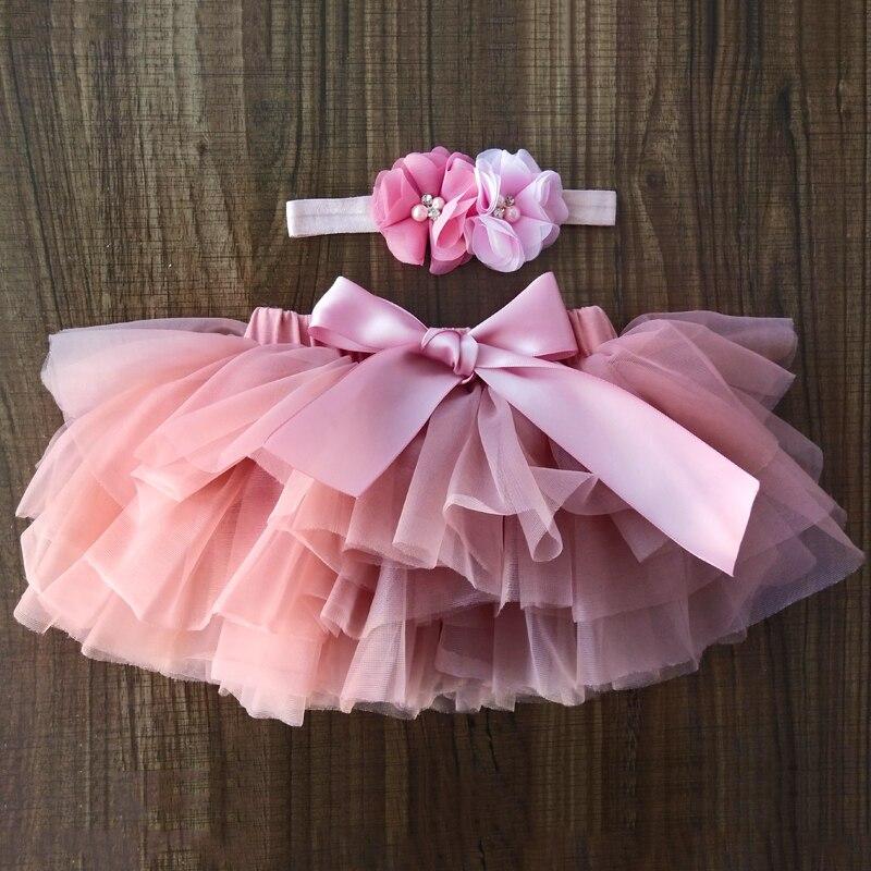 Bebé niña tutu falda 2 piezas tul encaje bloomers, cubierta de pañal bebé recién nacido trajes de Mauv diadema flor bebé conjunto de malla bloomer