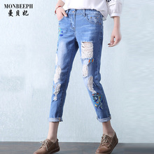 MONBEEPH Summer Ripped Jean Embroidery capris Bleached Women High Waist Denim Jeans Ankle Pants blue high quality trousers