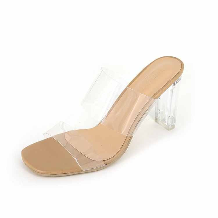 PVC Transparent Slippers Open Toes Sexy Serpentine High Heel Crystal Women's Shoes Transparent High Heels Slippers