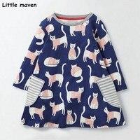 ליטל מייבן ילדים בגדי מותג 2017 חדש סתיו בנות בגדי תינוקות ילדה אונליין הדפסת חתול כותנה stripped שמלות כיס S0290