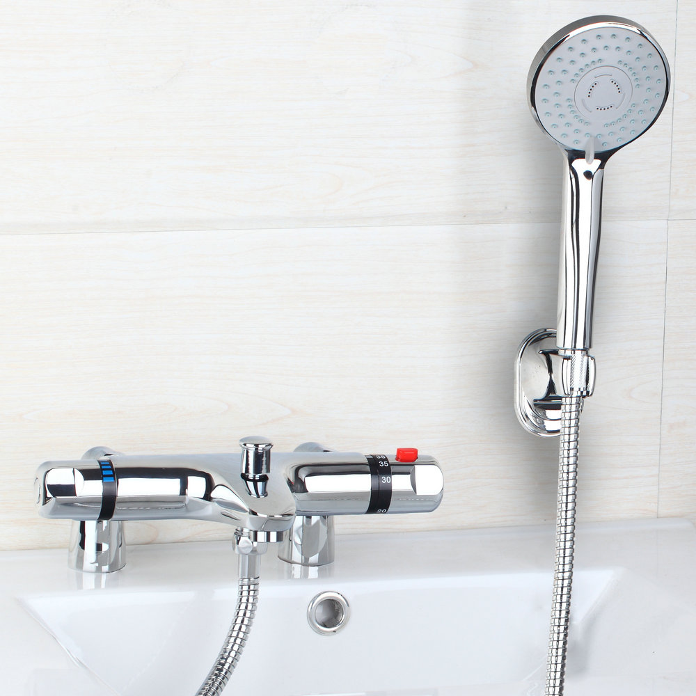 Sumptuous Auto-Thermostat Control Bathroom Faucet Chrome Polished Wall Mounted Hot Cold Water Mixer Distinguished Shower Faucet free shipping polished chrome finish new wall mounted waterfall bathroom bathtub handheld shower tap mixer faucet yt 5333