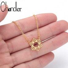 Chandler 316L Stainless Steel Lotus Necklace Flower GOOD KARMA Buddha Yoga Prayer Buddhism Jewelry Muslim Chokers Drop Shipping