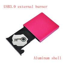 Envío Libre grabadora de dvd Externa unidad portátil de aleación de aluminio de escritorio externo USB3.0 móvil disco Duro de intercambio rojo