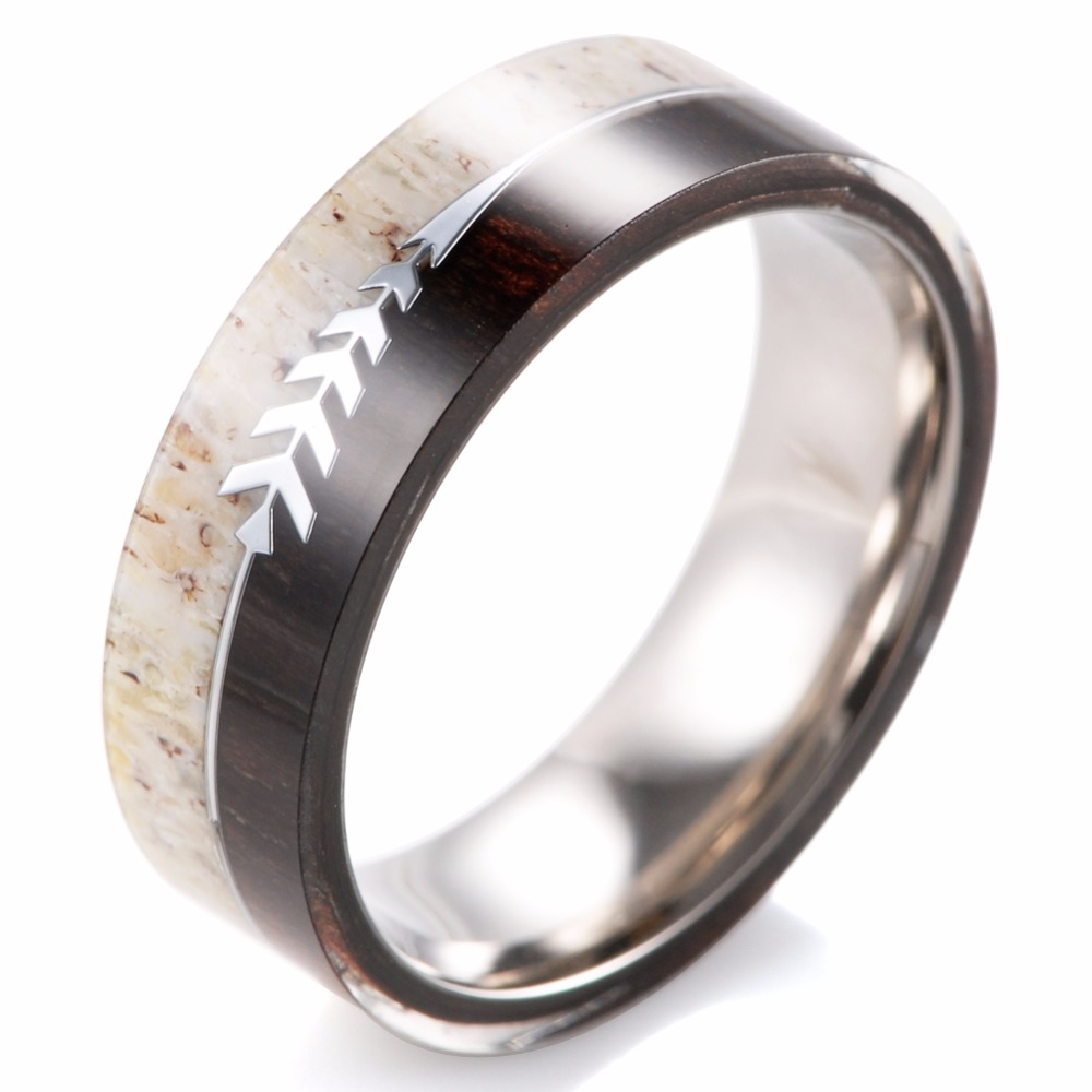deer made damascus solid hunters band steel in wedding rings antler products custom inlaid ring