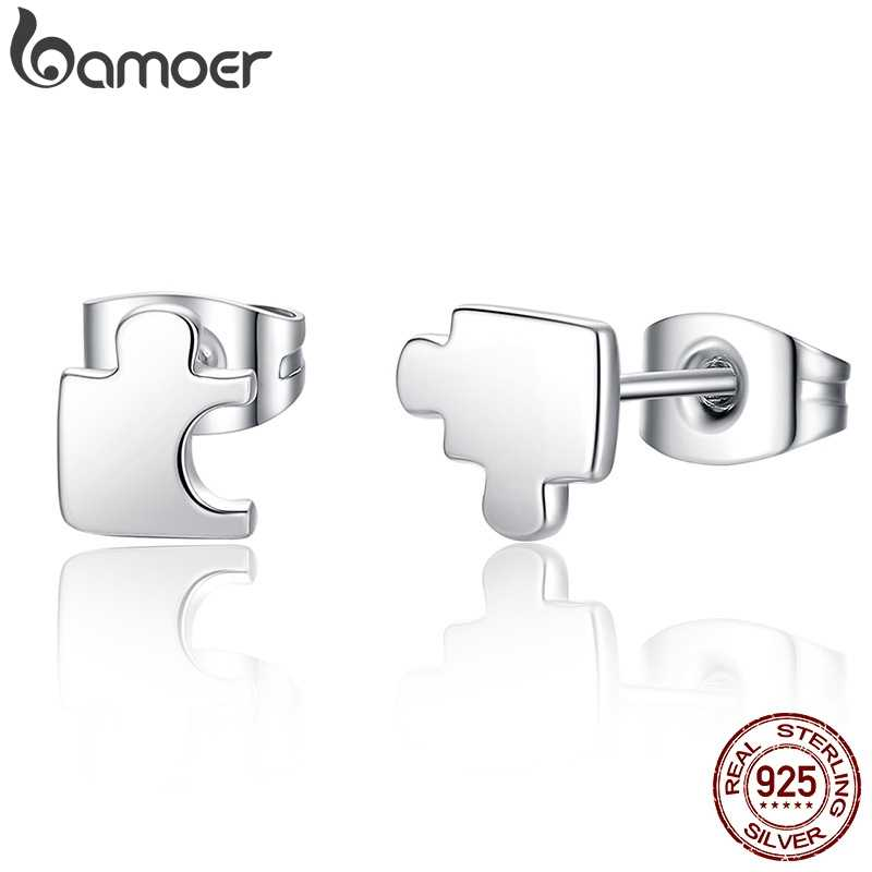 BAMOER New Arrival Genuine 925 Sterling Silver Game Puzzle Stud Earrings, Clear CZ Sterling Silver Jewelry Brincos SCE045