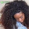 180 Densidad Afro Rizado Rizado Pelucas Del Cordón Con El Pelo Del Bebé Las Mujeres negras Sin Cola Pelucas Delanteras Del Cordón Del Pelo Humano Rizado Rizado peluca