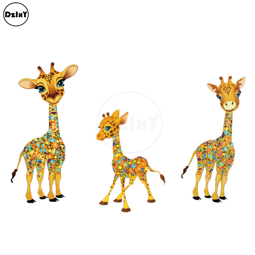 Giraffe Animals Thermo-Stickers for Clothes Iron on Heat Transfers Patches A-Level Washable PVC Handmade Family Appliques @T-166 giraffe