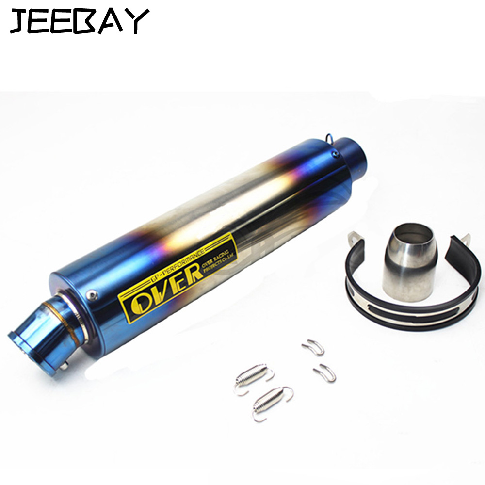 51mm Universal Motorcycle Exhaust Pipe Escape Slip-On Pipe Fit Motocross Scooter ATV pit Bike Moped Exhaust Muffler Accessories 51mm 61mm inlet motorcycle slip on exhaust escape moto stainless steel racing bike exhaust 600cc gy6 scooter dirt pit bike sc016
