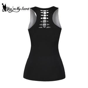 Image 2 - [Youre My Secret] Women Summer Tank Top Wolf Print Punk Backless Top Black Hollow Top Fitness Sexy Vest Clothing