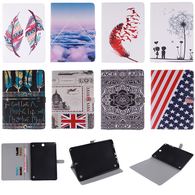 Fashion Feather Lotus Cloud Pattern PU Leather Flip Wallet Case For Samsung Galaxy Tab A 9.7 T550 T555 SM-T550 Cover Coque Funda