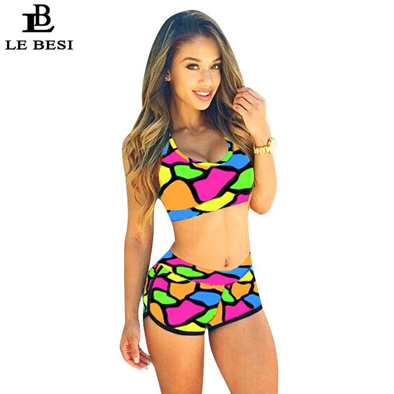 LEBESI 2017 Two Piece Biquini Swimwear Women's Pants Bkinis Set Multicolor High Waisted Bikini Swimsuit Tankini Maillot De Bain