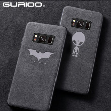 Caso de Pele De Camurça originais Para Samsung Galaxy S7 Borda S9 S8 Plus Nota 9 8 Note8 Luxo Couro tampa Do Carro de Pelúcia batman Tampa Do Telefone Coque(China)