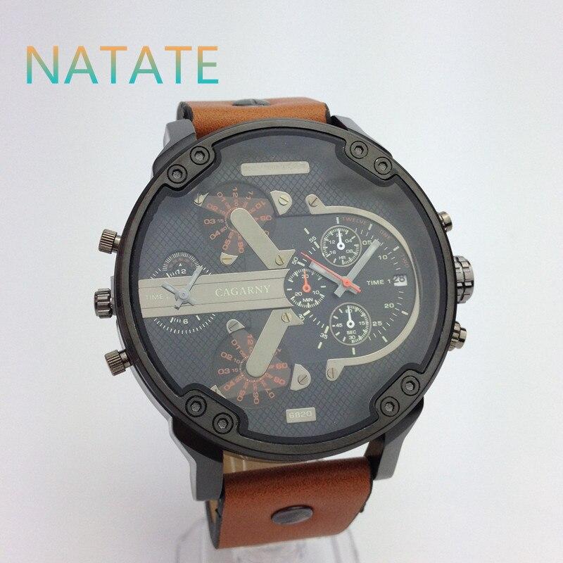 NATATE Men Watch Dual Movement Watch CAGARNY Waterproof Sport Military Quartz Men Luxury Brand Wrist Watch