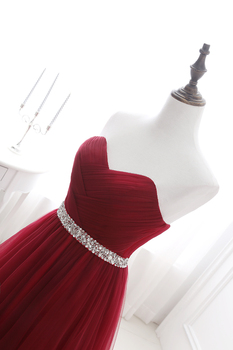 Simple 2020 Women Wine Red Evening Dress Formal Tulle Dresses Sweetheart Neckline Sequin Beaded Prom  GraduationParty Dress 4
