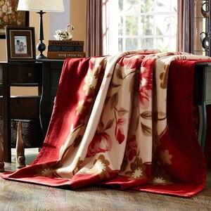 Image 2 - Koreański styl Cashmere raszlowe koc jedna warstwa kwiatowy drukowane miękkie ciepły flanela rozmiar queen zimowe ciepłe łóżko arkusz koce z norek
