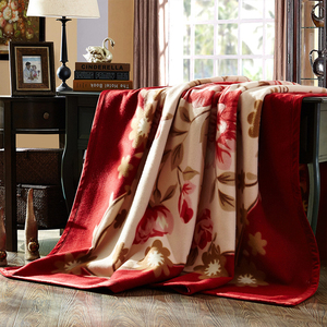 Image 2 - שמיכת Raschel שכבה אחת פרחוני מודפס קשמיר בסגנון קוריאני משובץ חם רכה שמיכות מינק חורף גודל מלכת סדין למיטה חמה