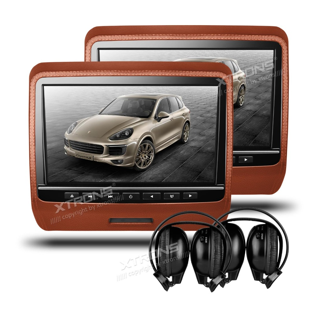 XTRONS 2x9 Inch Brown HD Digital Screen Leather Styled Car
