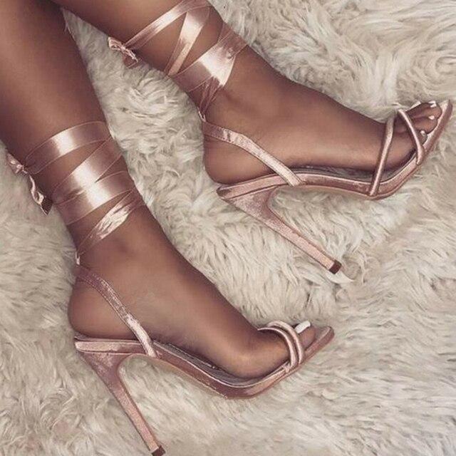 Teahoo Summer Pink High Heels Sandals Women Silk Lace Up Gladiator Sandals  Women Open Toe Women Pumps Sexy Party Shoes Woman 0e555e27bf1e