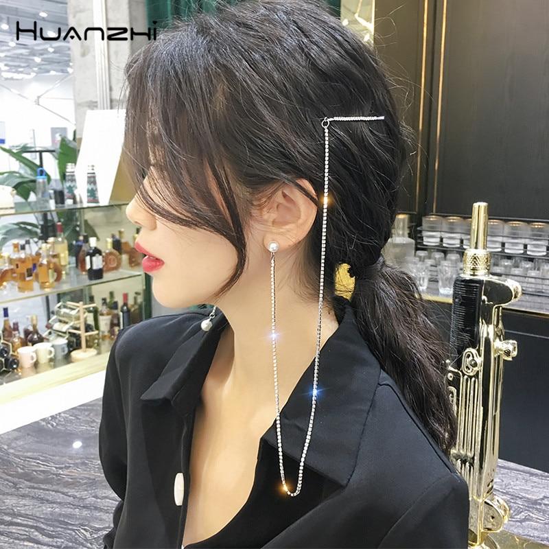 HZ 2019 New Fashion Imitation Pearls Hair Grip Asymmetric Tassel Elegant Hair Clips Barrettes Hair Accessories For Women Party