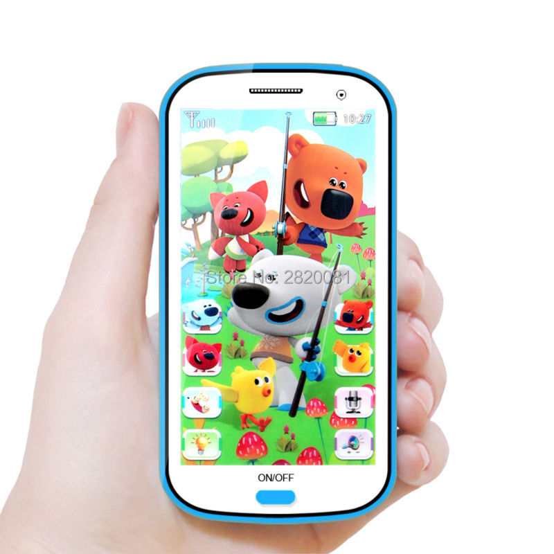 Russian language 4D musical mobile phone learning machine with cartoon bears,Baby early educational anime figure electronic toy
