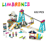 632Pcs Friends Heartlake New Snow Resort Ski Lift Building Blocks Set Model Bricks Girl Toy Compatible