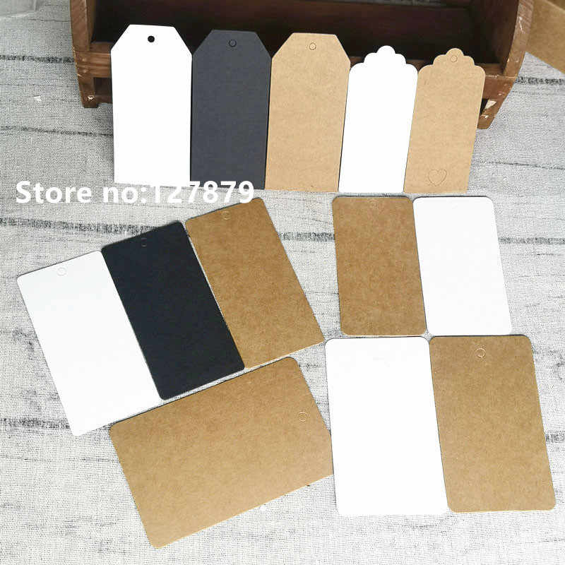 50PCS Multiple sizes Kraft Paper Labels DIY Crafts Blank Packaging Hang Tag Gift Wedding/Birthday Party Candy Boxes Price Tags