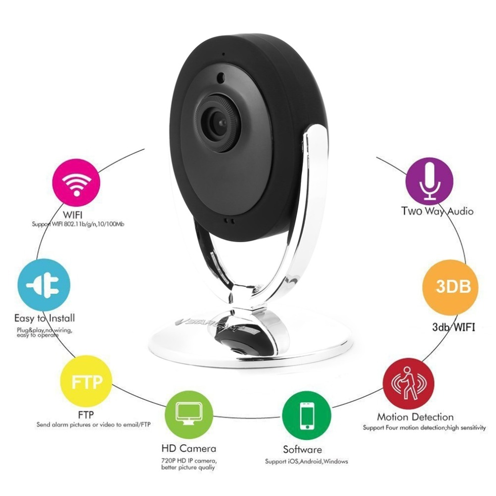 Caméra Wifi 1MP C93 P2P P/T vision nocturne ir-cut 2 voies Audio haut-parleur interne protocole Onvif/Rtsp caméra IP sans fil