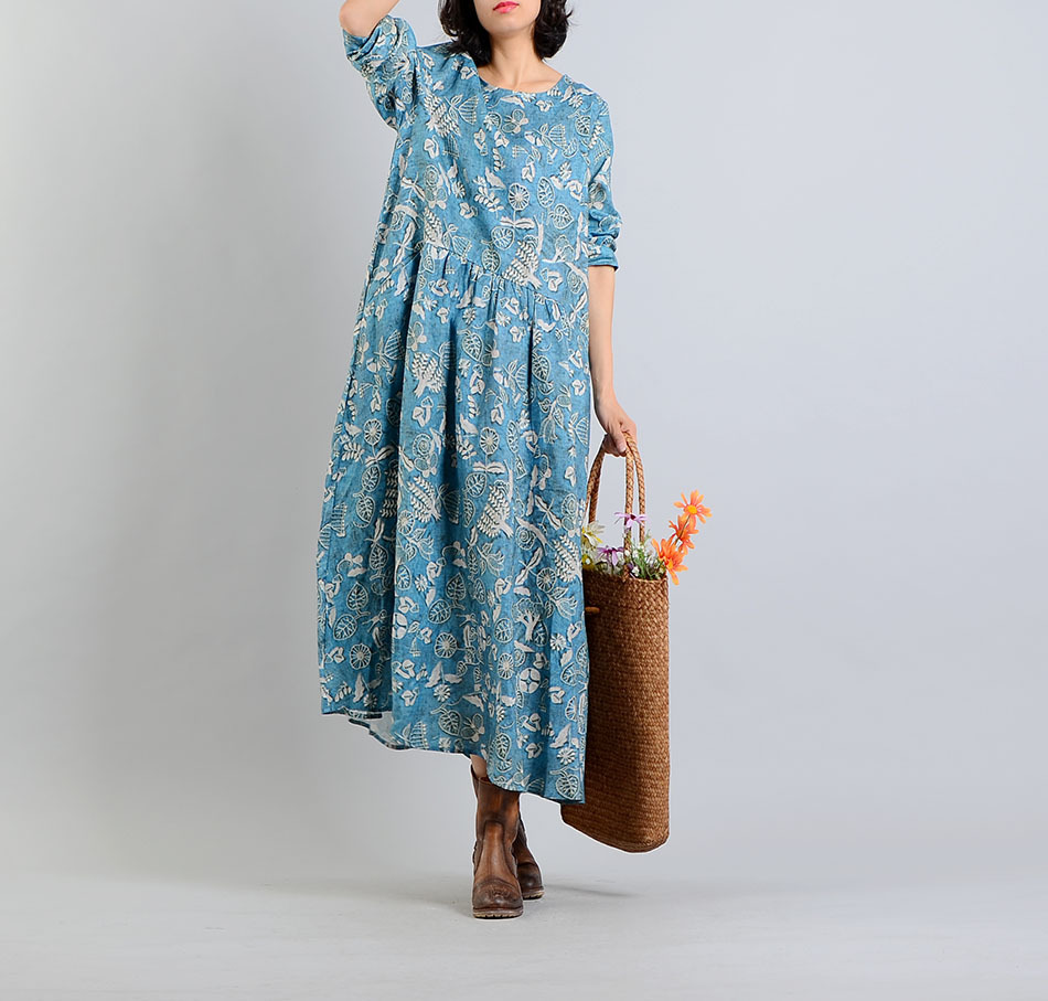 Donkey travel time 18 spring and summer new cotton and hemp womens rural floral dress fresh dress