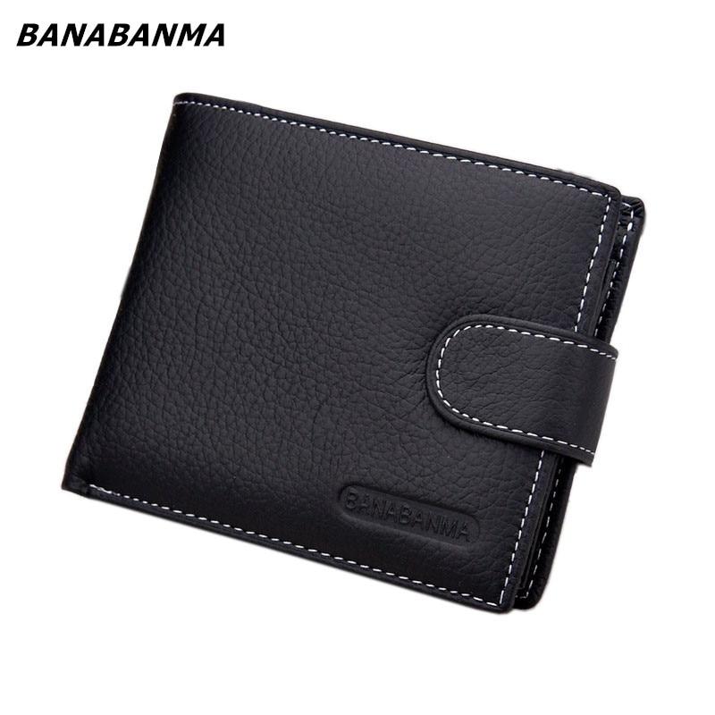 2018 New Brand Wallet Men Genuine Leather Men Wallets Purse Short Male Leather Wallet Men Money Bag Quality Guarantee Carteira