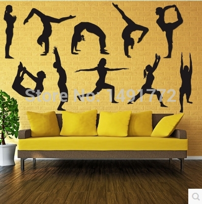 Gym yoga dance studio living room decorative wall stickers-in Wall ...