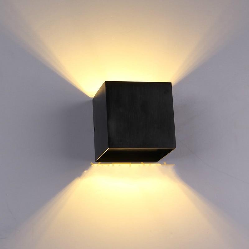 Ժամանակակից կարճ 3W LED արծաթե պատի լամպով անկողնային հեռուստացույց բազմոց ֆոնային թեթև ալյումինե սև պատի բծախնդրությամբ թեթև հարմարանք AC 85-265V