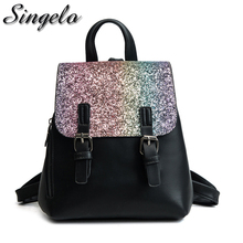 Singelo Female Sequins PU Leather Backpacks 2018 Fashion Women Travel Bags Small Preppy School Daypacks For